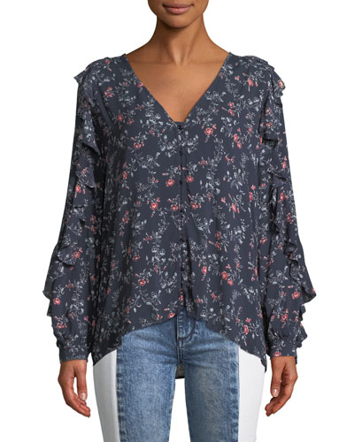 Keena Floral Button-Up Ruffle Top