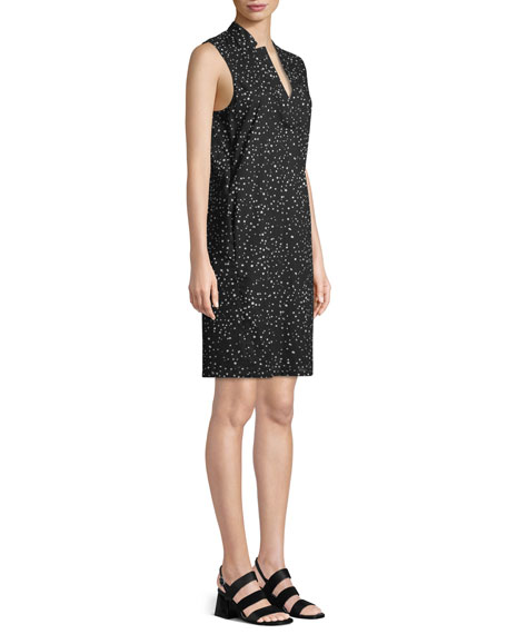 Sleeveless Dot-Print A-line Dress