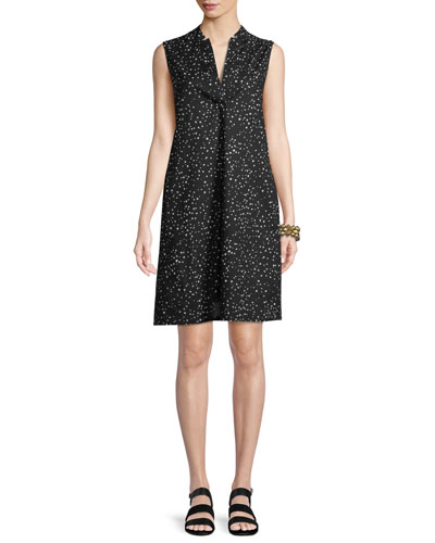 Sleeveless Dot-Print A-line Dress, Petite