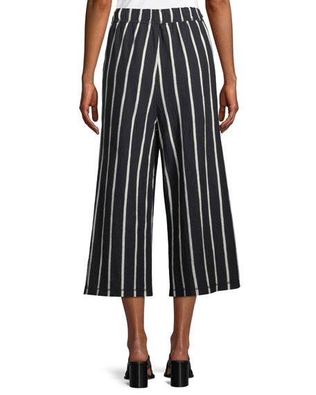 Slubby Striped Wide-Leg Capri Pants, Petite