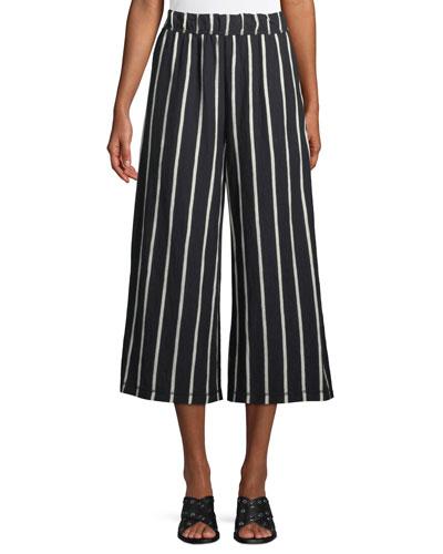 Slubby Striped Wide-Leg Capri Pants