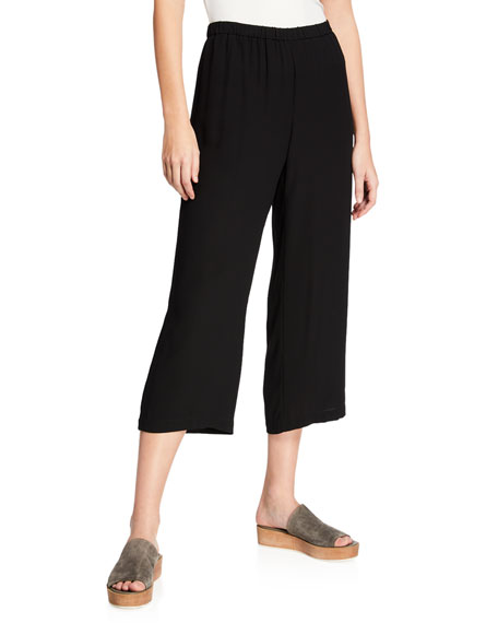 Eileen Fisher Cropped Silk Georgette Straight-Leg Pants, Plus