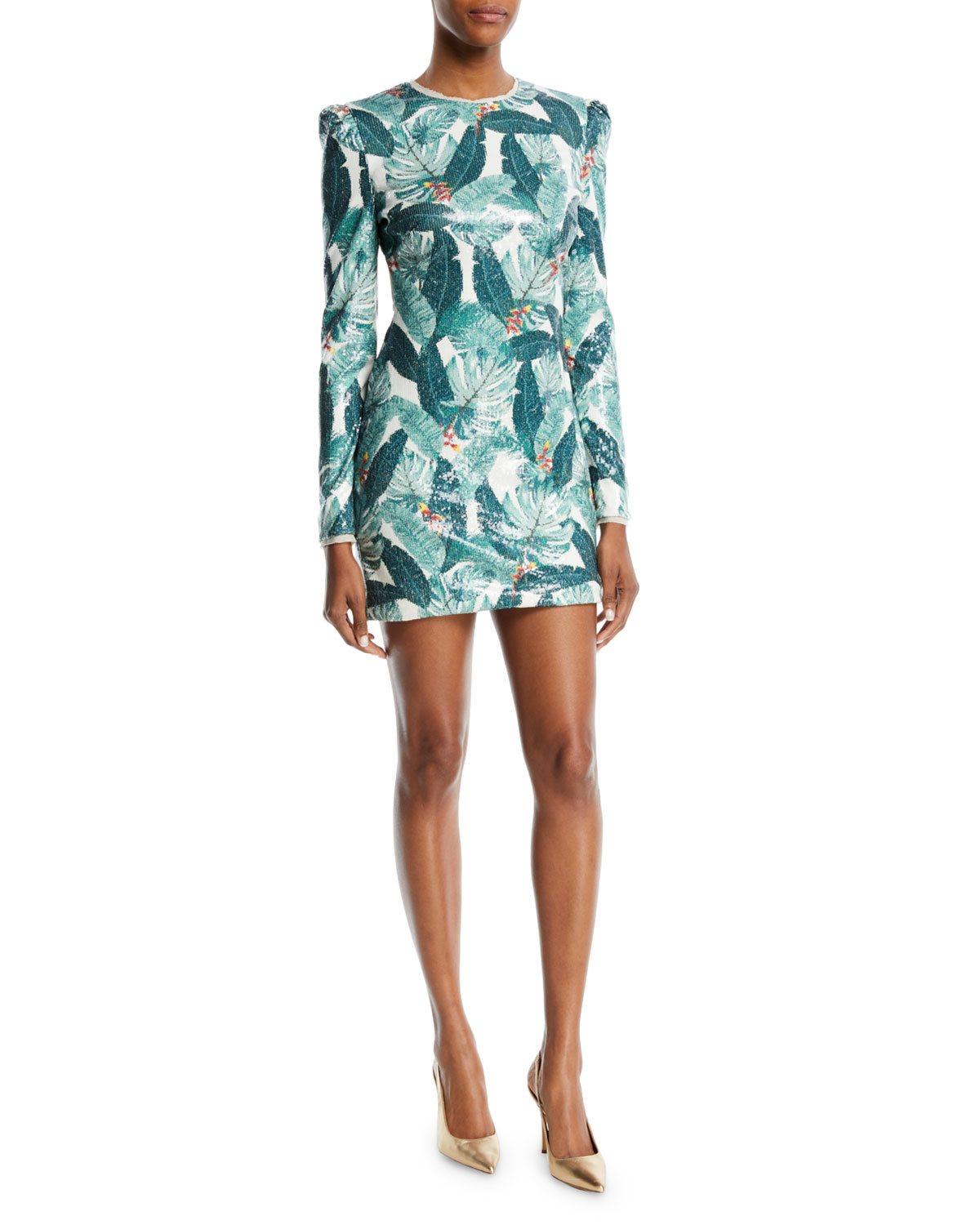81233944 Rachel Zoe Amelia Sequin Palm-Print Open-Back Mini Dress | Neiman Marcus