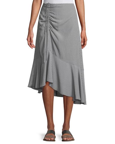 Ruanne Gingham Ruched Midi Skirt