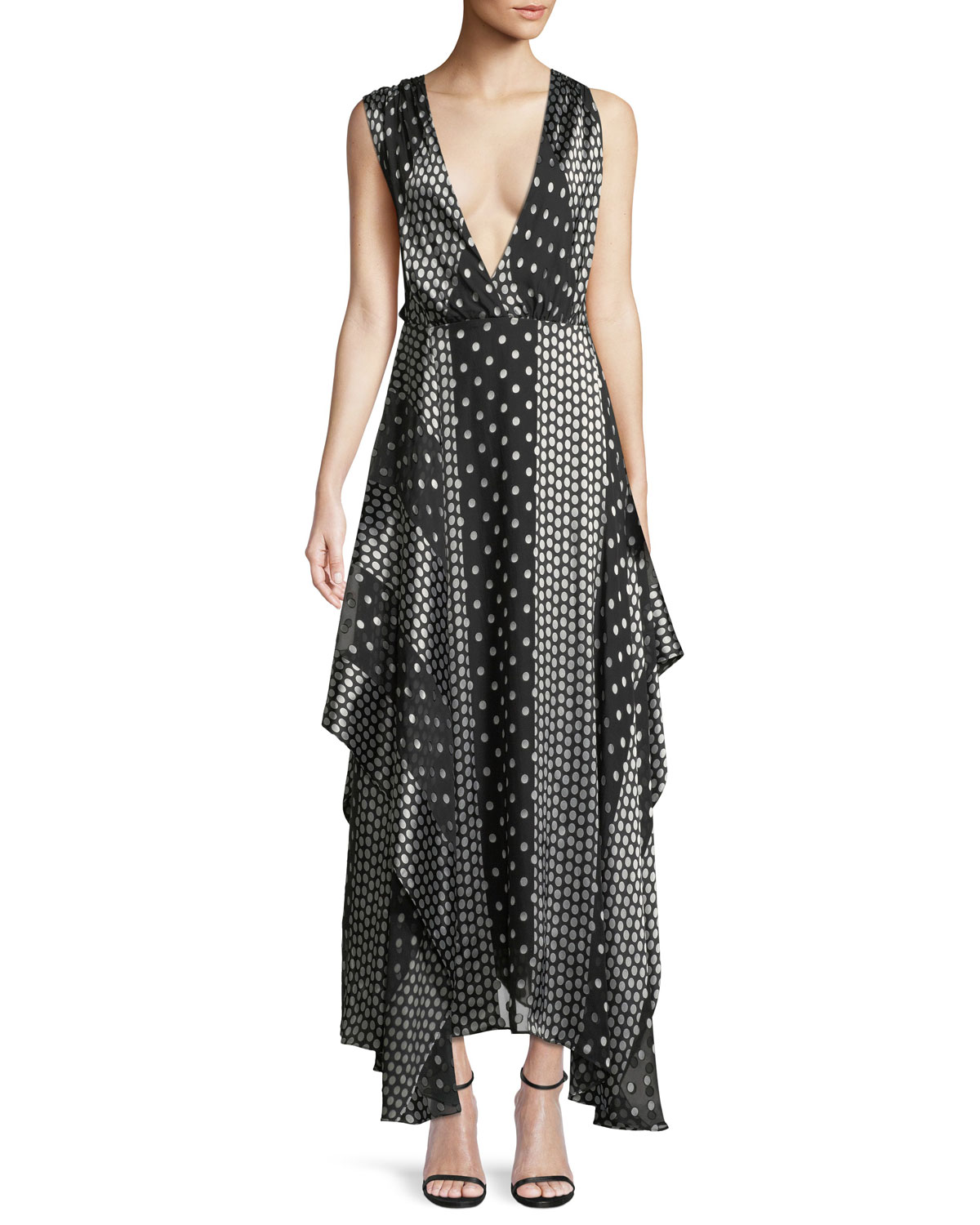 b837ee3d0cdfd6 Diane von Furstenberg Draped Dot-Print Silk Maxi Dress