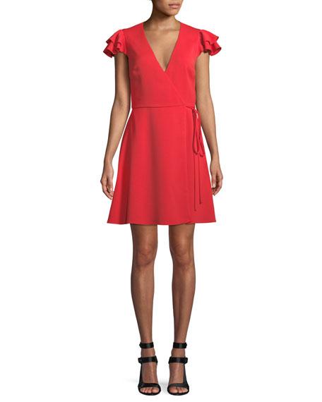 Doralee Flutter-Sleeve Wrap Dress