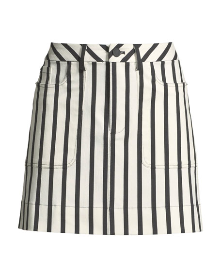 Gail Striped Patch-Pocket Mini Skirt