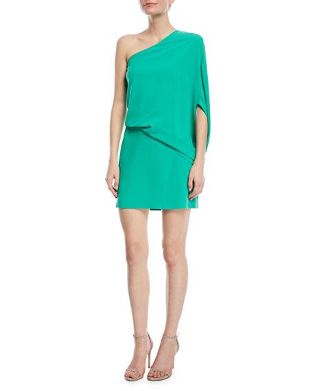 One-Sleeve Draped Cocktail Dress