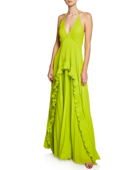 Pleated Sleeveless Halter Gown