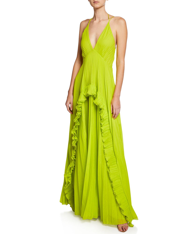 Halston Heritage Pleated Sleeveless Halter Gown | Neiman Marcus