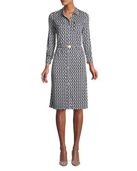 Crista T-Print Slinky Jersey Shirtwaist Dress