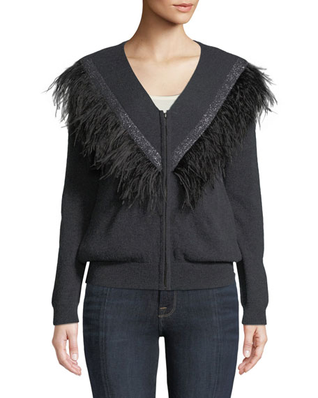 Neiman Marcus Cashmere Collection Feather-Trim Bomber Sweater