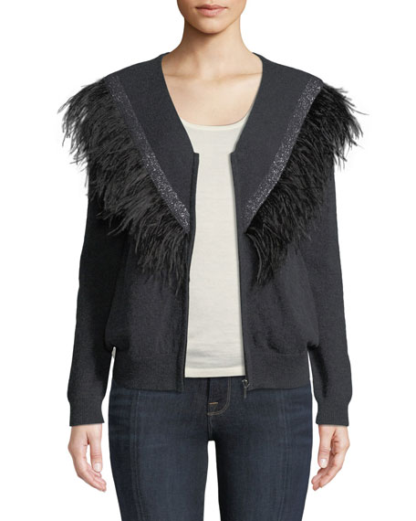 Feather-Trim Bomber Sweater