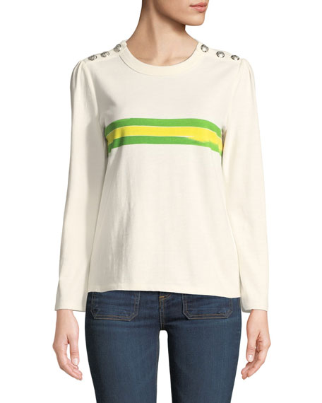 Pouf-Sleeve Striped Crewneck Button-Shoulder Tee