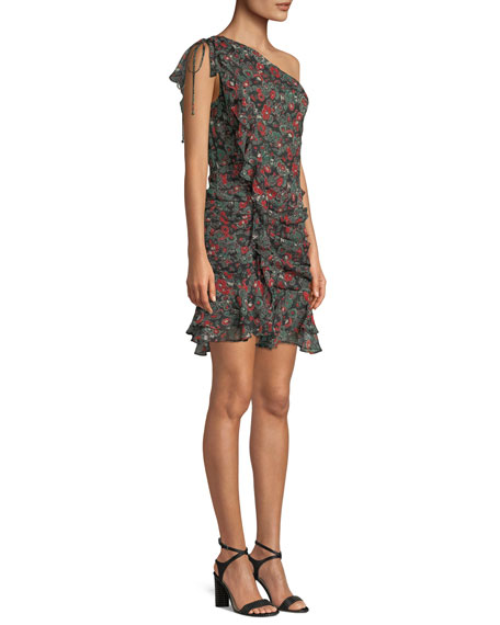 Ballard Printed Ruffle One-Shoulder Mini Dress
