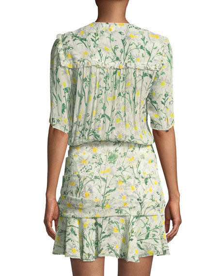 Dakota Daisy-Print Silk Flounce Dress