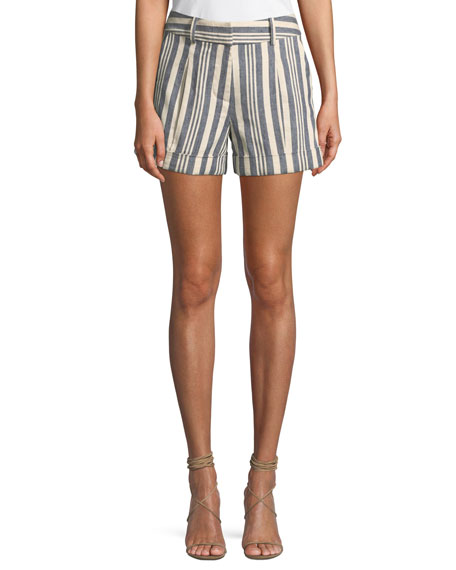 Carito Stripe Linen & Cotton Shorts in Blue