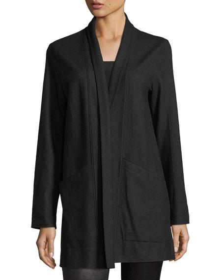 Boiled Wool Jersey Long Jacket, Petite