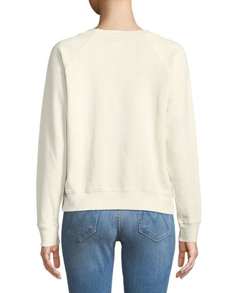 Crewneck Raglan Sweatshirt with Topstitching