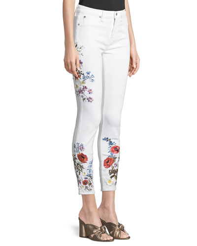 Floral Embroidered Ankle Skinny Jeans
