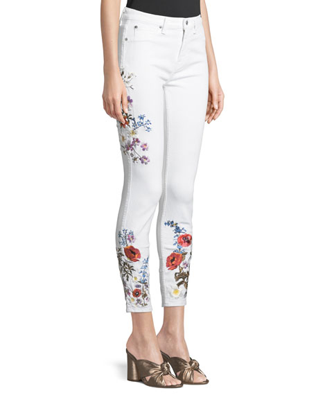 7 for all mankind Floral Embroidered Ankle Skinny