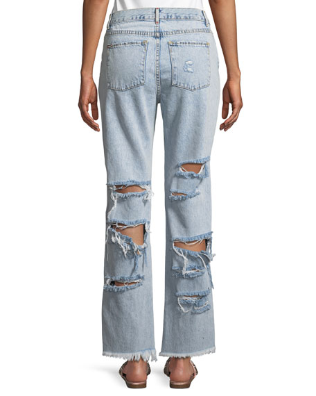 Genevive Extreme Distressed Girlfriend Jeans