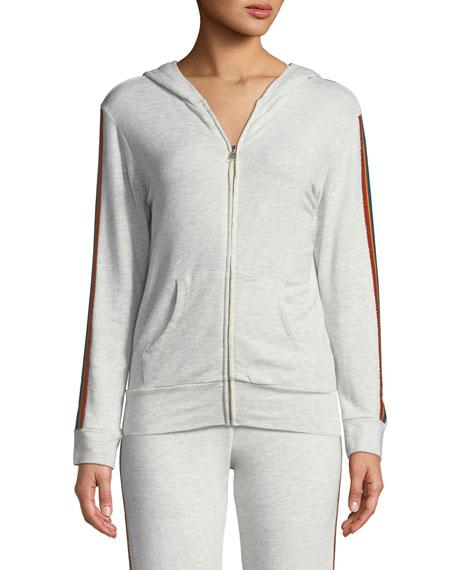 Rainbow-Stripe Zip-Up Hoodie Sweatshirt