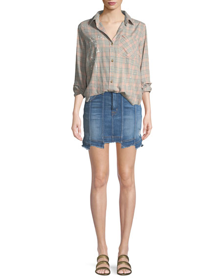 Weekender Step-Hem Denim Skirt