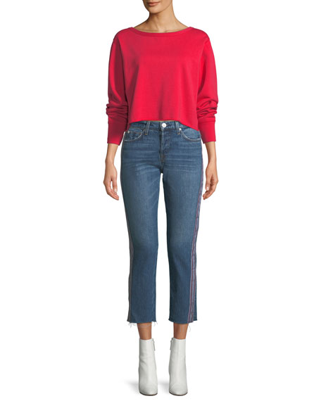 Riley Cropped Straight-Leg Jeans with Side Stripes