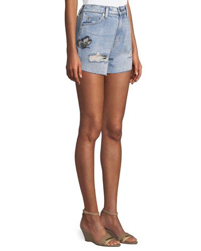 The Staple Embroidered Cutoff Denim Shorts