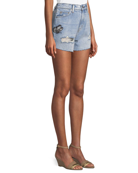 The Staple Embroidered Cutoff Denim Shorts
