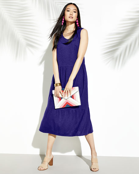 Hemp-Cotton Tiered Midi Dress, Plus Size