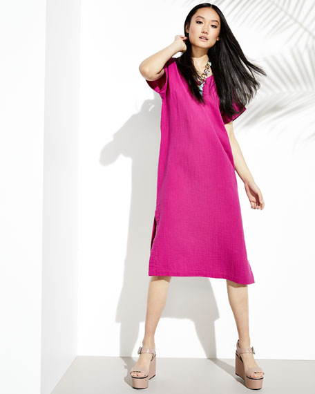 Cotton Gauze V-Neck Shift Dress, Petite