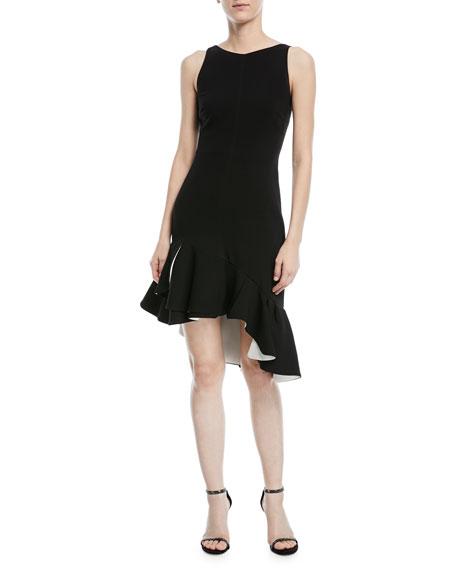 Sleeveless Dress w/ Flounce Ruffle Hem