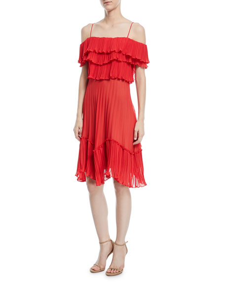 Plisse Georgette Popover Ruffle Dress