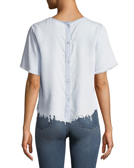 DL1961 Premium Denim Fort Tilden Raw-Edge Short-Sleeve Top