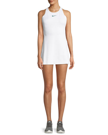Maria Pleated Cutout Tennis Dress in White/ Gorge Green
