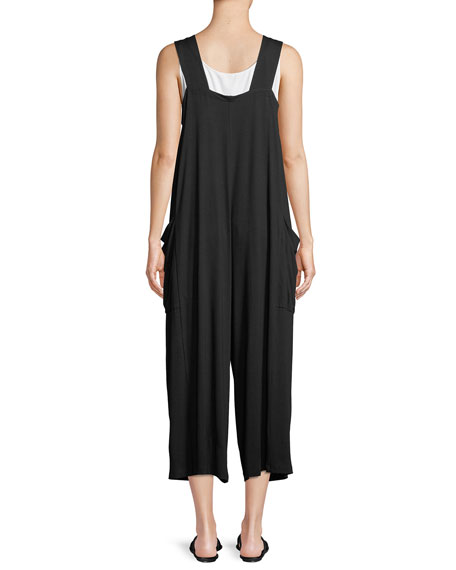 Wide-Strap Cropped Viscose Jersey Jumpsuit, Plus Size