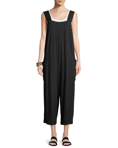 Wide-Strap Cropped Viscose Jersey Jumpsuit, Plus Size