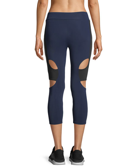 Cropped High-Rise Cutout Side-Stripe Leggings