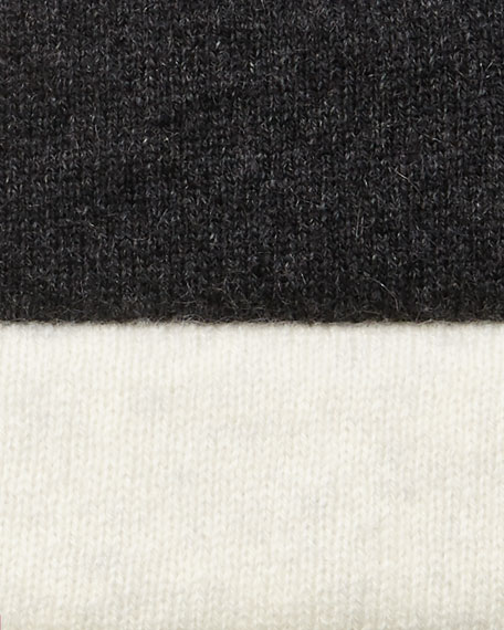 Diagonal Ribbed Cashmere Turtleneck Tunic