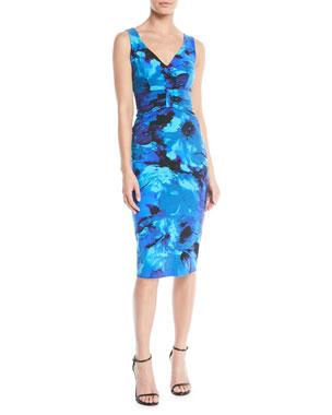 Chiara Boni La Petite Robe Claudetta V-Neck Floral-Print Sheath Dress 74ae1fbe13cd
