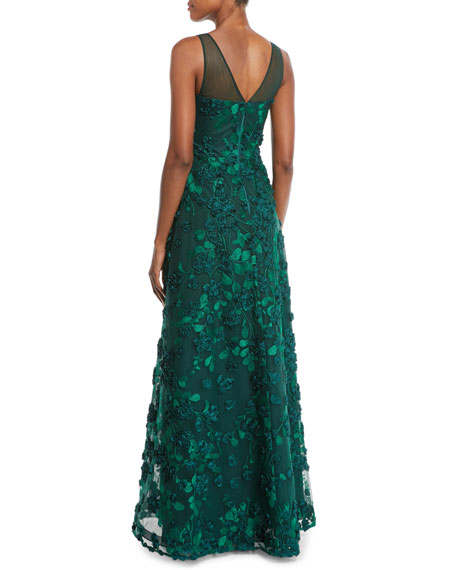 3D Floral V-Neck A-Line Gown