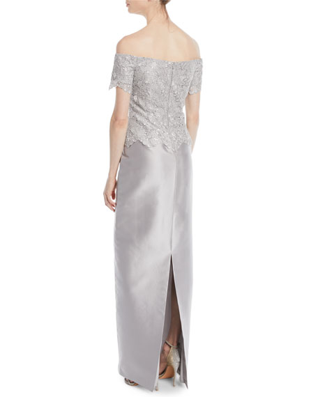 Gazar & Metallic Lace Off-the-Shoulder Column Gown
