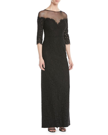 Lace Illusion Column Gown