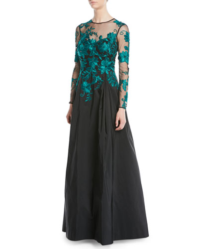 Long-Sleeve Illusion Lace Taffeta-Skirt Evening Gown