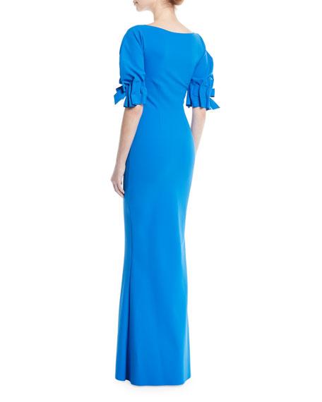 Zeina Tie-Sleeve Slit Gown