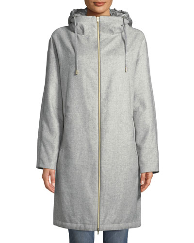 Long Coat w/ Removable Nylon Hood