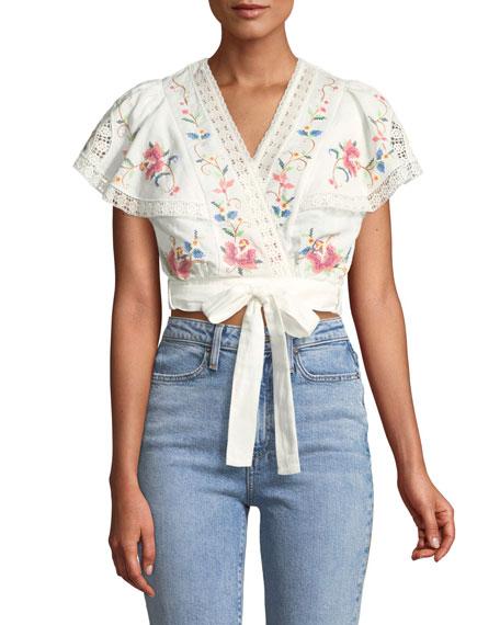 Laelia Cross Stitch Floral Crop Top