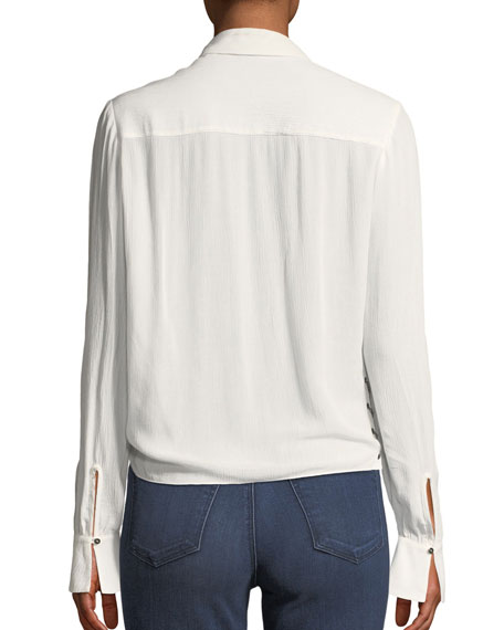 Reflected Light Open-Side Tie-Front Blouse